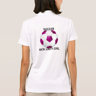 Pink Camouflage Soccer Ball Polo Shirt