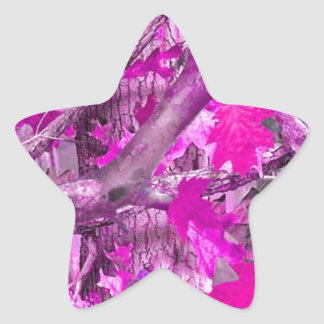 Pink Camouflage Star Sticker