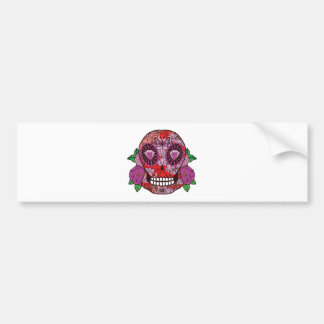 Pink Camouflage Sugar Skull Diamond Eyes Roses Bumper Sticker