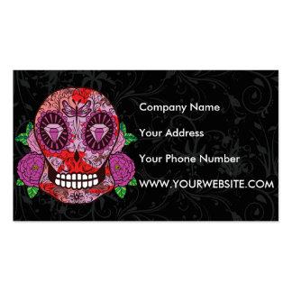 Pink Camouflage Sugar Skull Diamond Eyes Roses Business Card