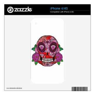 Pink Camouflage Sugar Skull Diamond Eyes Roses iPhone 4S Decal