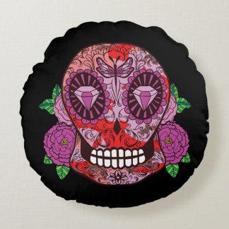 Pink Camouflage Sugar Skull Diamond Eyes Roses Round Pillow