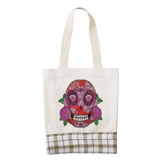 Pink Camouflage Sugar Skull Diamond Eyes Roses Zazzle HEART Tote Bag