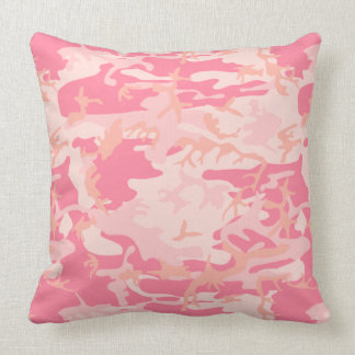 Pink Camouflage Throw Pillow