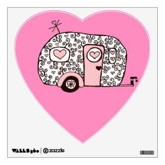 Pink camper wall sticker