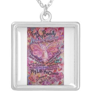Pink Cancer Angel Feel Beauty Necklace Jewelry