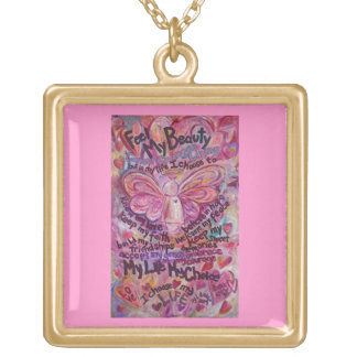 Pink Cancer Angel Feel Beauty Poem Charm Necklace