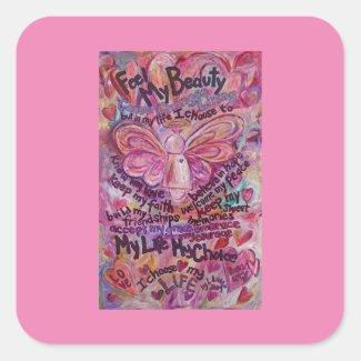Pink Cancer Angel Poem Custom Art Decal Sticker