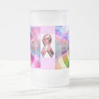 Pink Cancer Awareness Ribbon Color Spectrum 16 Oz Frosted Glass Beer Mug