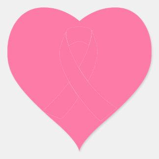 Pink Cancer Awareness Ribbon Heart Sticker