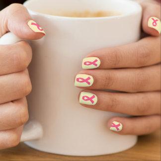 Pink Cancer Awareness Ribbon Minx Nail Art