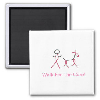 Pink Cancer Awareness Ribbon Stick Person and Dog Magnet