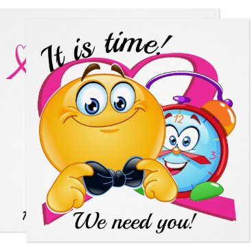 Professional Business Pink Cancer Ribbon and Clock It Is Time Invitation