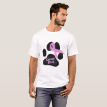 Pink Cancer Ribbon | Breast Cancer | Dog Paw T-Shirt