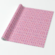 Pink Cancer Ribbons for Support Wrapping Paper
