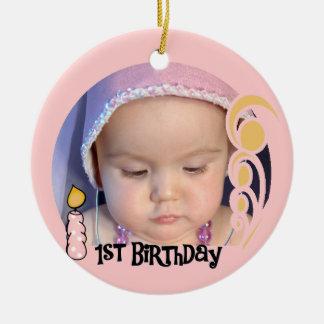 Pink Candle 1st Birthday Keepsake Ornament