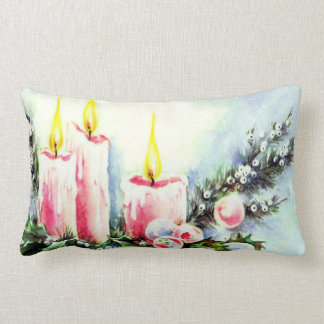 Pink Candle Christmas Decor Pillow