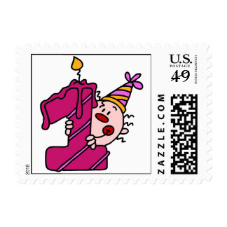 Pink Candle Clown 1st Birthday Postage Stamps