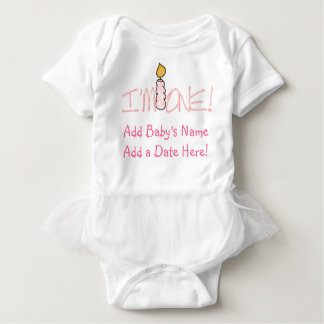 Pink Candle I'm One Personalized Baby T-shirt