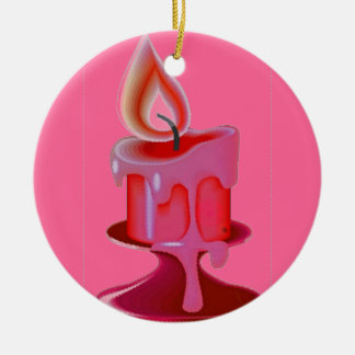PINK CANDLE Double-Sided CERAMIC ROUND CHRISTMAS ORNAMENT