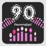 Pink Candles 90th Birthday Personalize! Sticker