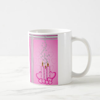 Pink candles and silver hearts classic white coffee mug