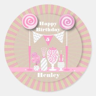 Pink Candy Buffet Birthday Sticker