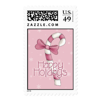 Pink Candy Cane - Happy Holidays Postage