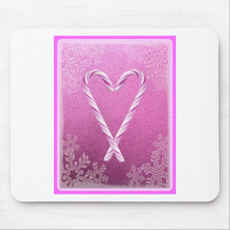PINK CANDY CANE HEART PRINT MOUSE PAD