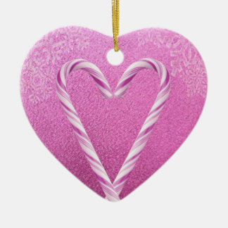 PINK CANDY CANE HEART PRINT CHRISTMAS TREE ORNAMENT