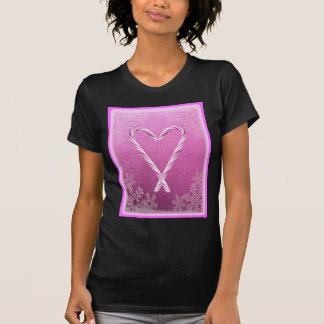 PINK CANDY CANE HEART PRINT TEES