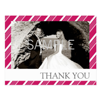 Pink Candy-cane Striped Thank-You Postcard