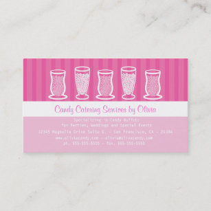 Candy business cards templates zazzle pink candy catering business card colourmoves