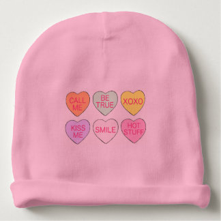 Pink Candy Heart Hearts Valentine's Day Baby Hat