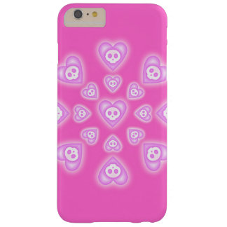 Pink Candy Hearts and Skulls Barely There iPhone 6 Plus Case