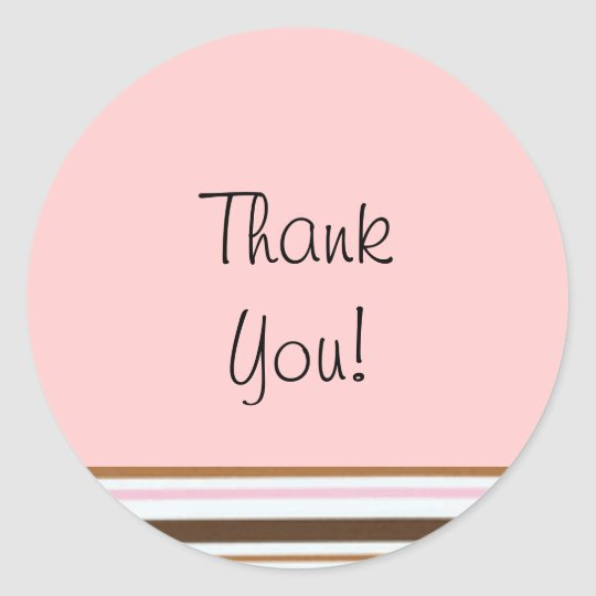 Pink Candy Stripe Thank You Label