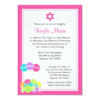 Pink Candy Stripes Bat Mitzvah Invitations