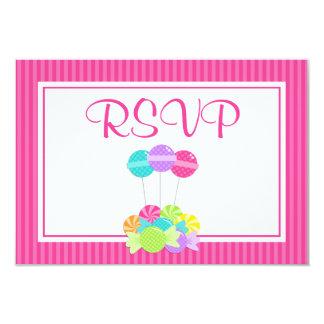 Pink Candy Stripes Bat Mitzvah RSVP Card