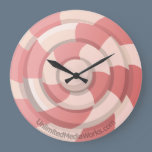 Pink Candy Swirl Large Clock