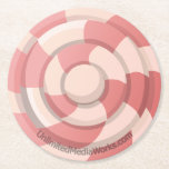 Pink Candy Swirl Round Paper Coaster