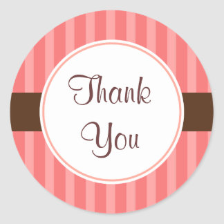 Pink Candy Thank You Stickers