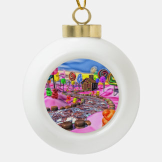 Pink Candyland Ceramic Ball Christmas Ornament