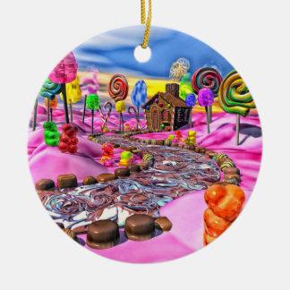 Pink Candyland Ceramic Ornament