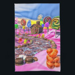 """Pink Candyland Hand Towel<br><div class=""""desc"""">This is my Candyland design-a gingerbread house in a pink candy landscape with colorful lollipops,  gummy bears,  sugar canes,  pralines and cotton candy by a chocolate road.</div>"""