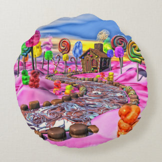 Pink Candyland - Round Pillow