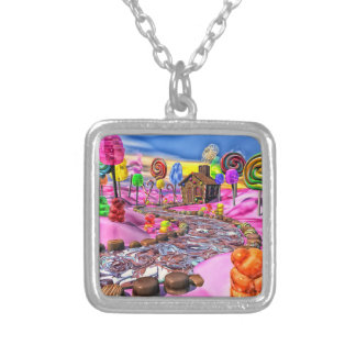 Pink Candyland Silver Plated Necklace