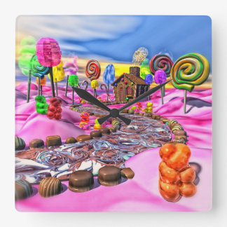Pink Candyland Square Wall Clock