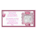Pink candystripe frame Thank You Card from baby