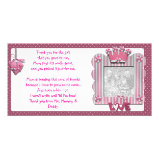 Pink candystripe frame Thank You Card from baby Photo Card