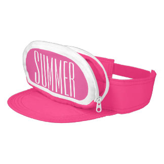 Pink Cap-Sac fanny pack for your head, Summer Text Visor